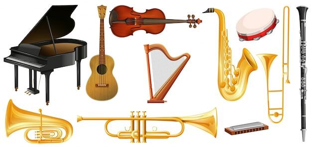 Różne rodzaje klasycznych instrumentów muzycznych