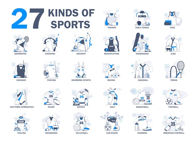 Różne rodzaje kolekcji ilustracji sportowych. sportowiec, zawody