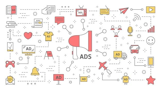 Różne rodzaje koncepcji reklamy produktu. reklamy cyfrowe i zewnętrzne. reklama komercyjna w mediach społecznościowych i komunikacja z klientem. zestaw ikon linii. ilustracja