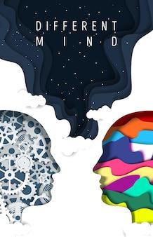 Różne rodzaje ludzkiego umysłu wektor plakat wycinany z papieru sylwetki głowy mężczyzny z biegami i kreatywn...