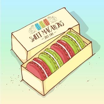 Różne rodzaje makaroników w pudełku, odręczny szkic i kolor.