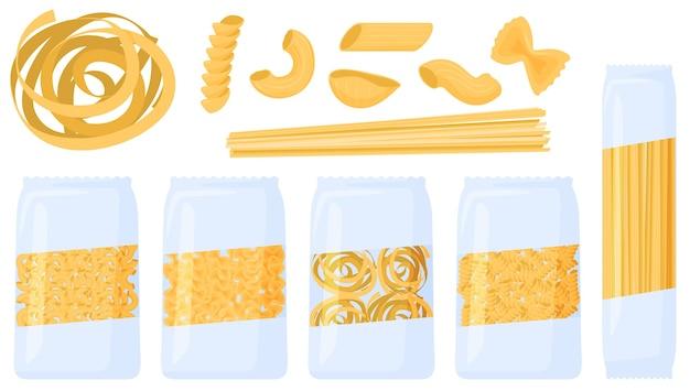 Różne rodzaje makaronów. makaron w opakowaniu, ilustracja