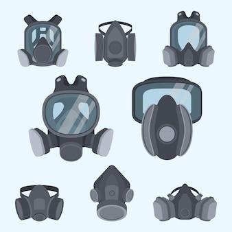 Różne rodzaje maski gazowej. maska dla strażaków i wojskowych. maska respiratora.