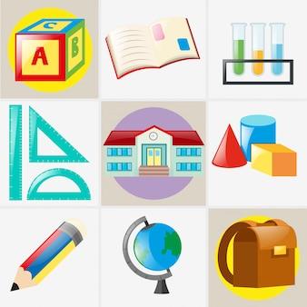 Różne rodzaje materiałów szkolnych