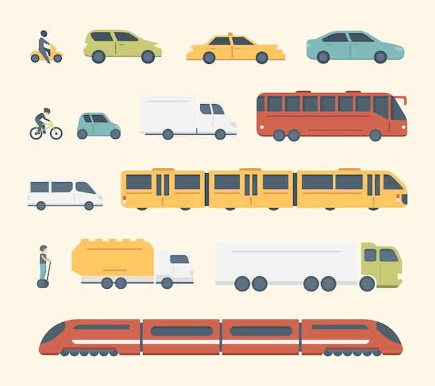 Różne rodzaje miejskiego i międzymiastowego transportu publicznego. zestaw ilustracji transportu. ikony samochodów, autobusów i ciężarówek.