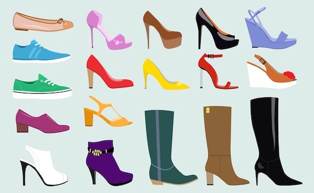 Różne rodzaje modnych butów damskich.