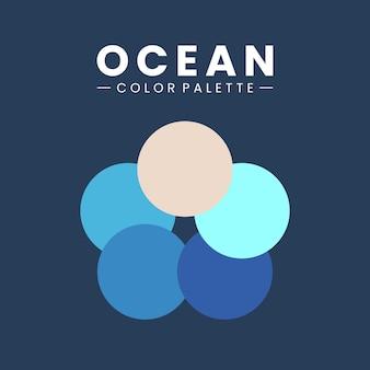 Różne rodzaje palety błękitu oceanu