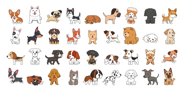 Różne rodzaje psów kreskówek wektor