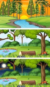 Różne rodzaje scen poziomych w lesie