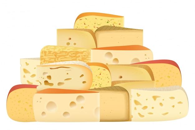 Różne rodzaje sera razem
