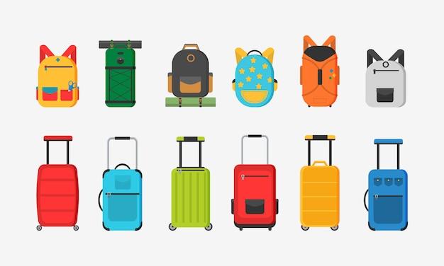 Różne rodzaje toreb. plastikowe, metalowe walizki, plecaki, torby na bagaż. duża i mała walizka, bagaż podręczny, plecak, pudełko, torebka.