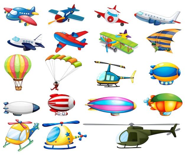 Różne rodzaje transportu lotniczego