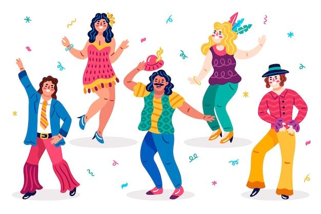 Różne rodzaje ubrań tancerzy karnawałowych