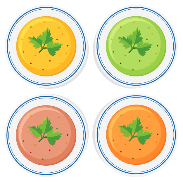 Różne rodzaje zup w miskach