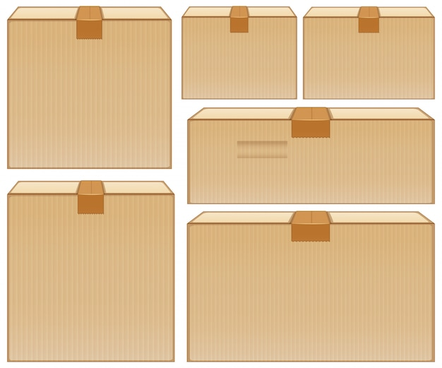 Różne rozmiary kartonów na białym tle