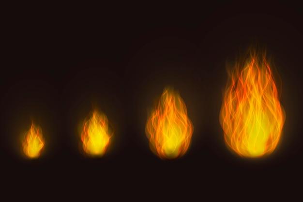 Różne rozmiary realistycznych płomieni ognia