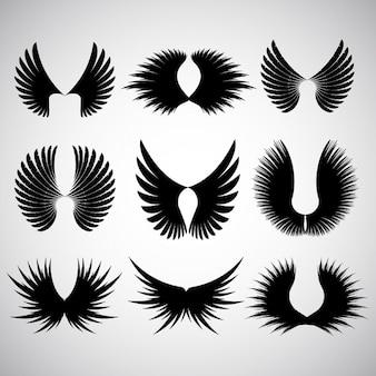 Różne różnych wzorów silhoeuttes skrzydłami