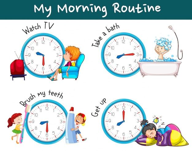 Różne rutyny rano o różnych porach