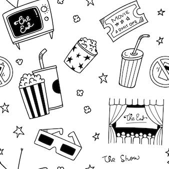 Różne rzeczy filmowe doodle bezszwowe tło