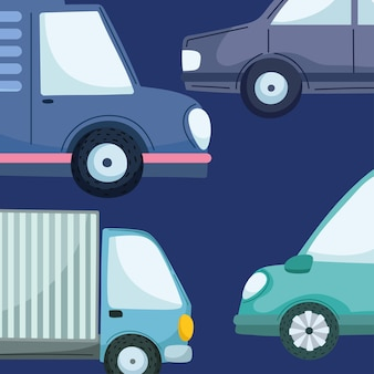 Różne samochody i ciężarówki