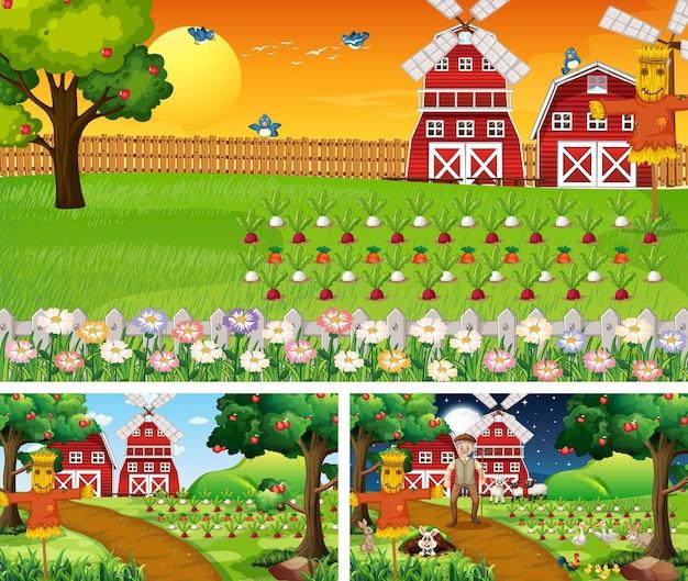 Różne sceny gospodarskie z postacią z kreskówek zwierząt gospodarskich