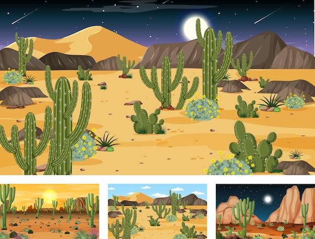 Różne sceny krajobrazu pustynnego lasu z różnymi roślinami pustynnymi