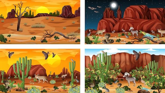 Różne sceny krajobrazu pustynnego lasu ze zwierzętami i roślinami