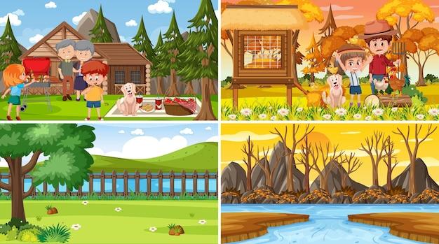 Różne sceny natury w tle w zestawie