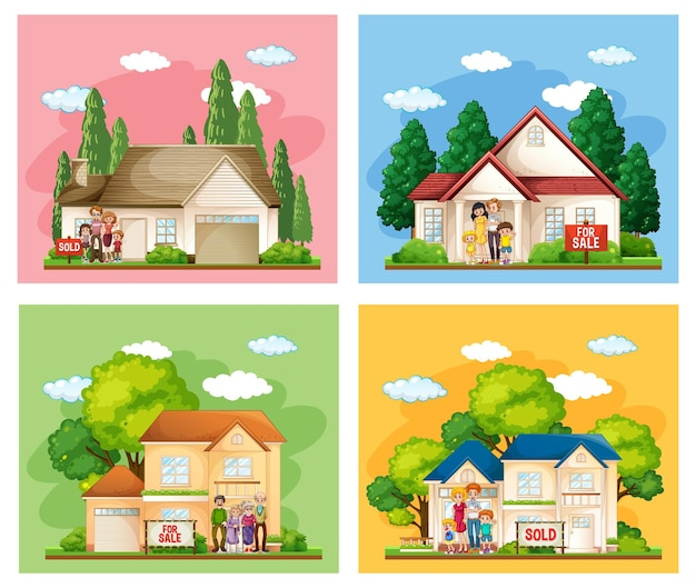Różne sceny przedstawiające rodzinę stojącą przed domem na sprzedaż