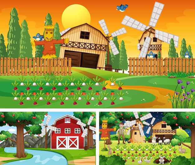 Różne sceny rolnicze z postacią z kreskówek zwierząt gospodarskich