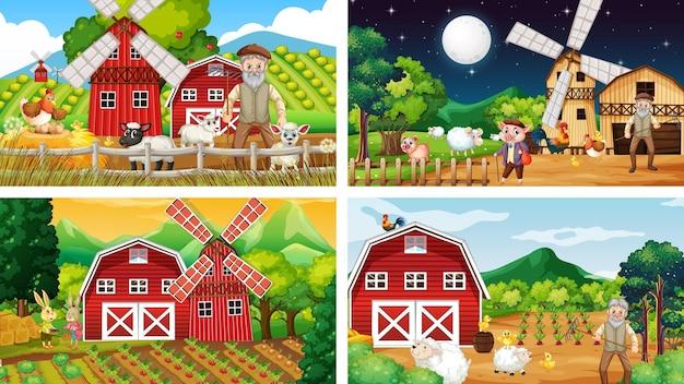 Różne sceny rolnicze ze starym rolnikiem i postacią z kreskówek dla zwierząt