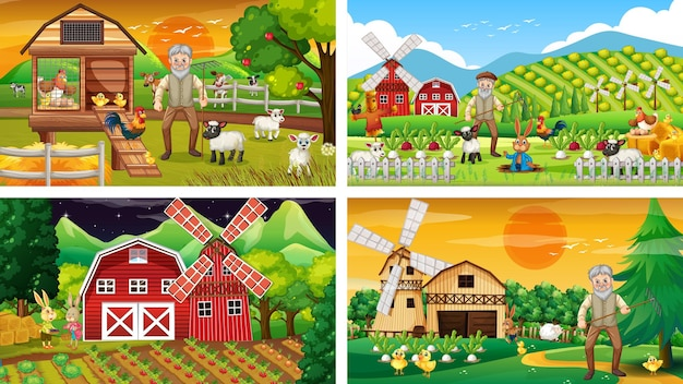 Różne sceny rolnicze ze starym rolnikiem i postacią z kreskówek zwierząt