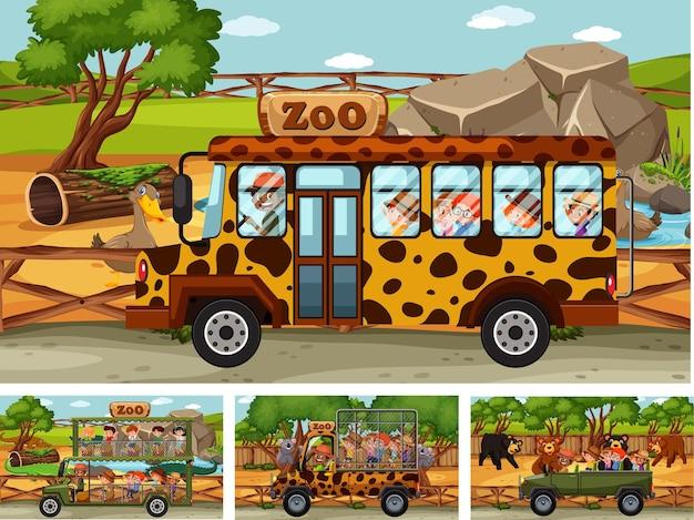 Różne sceny safari ze zwierzętami i postacią z kreskówek dla dzieci