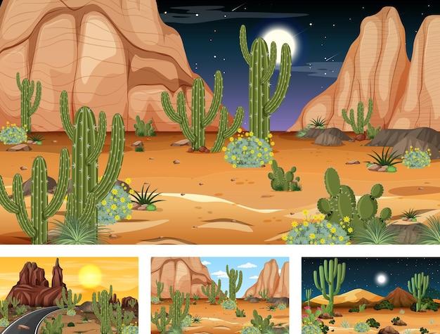 Różne sceny z pustynnym krajobrazem lasu z różnymi roślinami pustynnymi