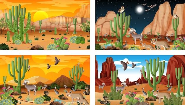 Różne sceny z pustynnym krajobrazem lasu ze zwierzętami i roślinami