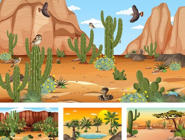 Różne Sceny Z Pustynnym Krajobrazem Lasu Ze Zwierzętami I Roślinami Darmowych Wektorów