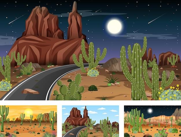Różne sceny z pustynnym krajobrazem lasu