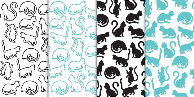 Różne silhouttes zwierząt domowych kotów i zarys w bezszwowe powtarzanie tła wektor swobodny wzór