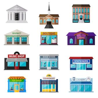Różne sklepy, instytucje i sklepy płaski zestaw ikon na białym tle. obejmuje bank, kościół, bibliotekę, rynek, butik, kasyno, sklep muzyczny, odpady do butów, artykuły papiernicze, sklep z zabawkami, handlarz rybami, pralnię