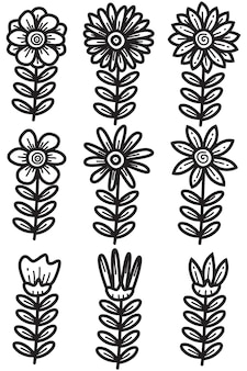 Różne słodkie doodle s dla kwiatów