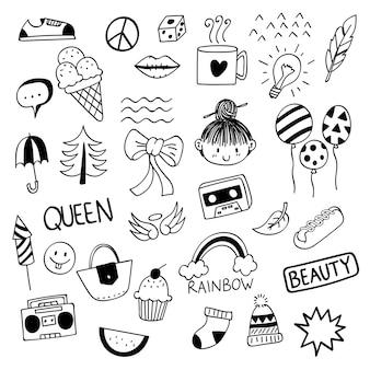 Różne słodkie rzeczy w stylu doodle