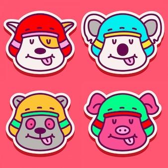 Różne słodkie wzory zwierząt doodle
