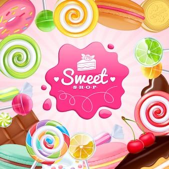 Różne słodycze kolorowe tło.