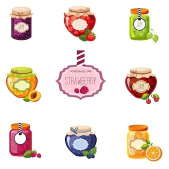 Różne słoiki jagód i dżemów owocowych zestaw ilustracji