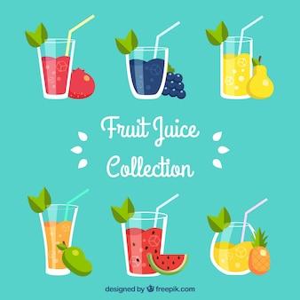 Różne smaczne soki owocowe w płaskim stylu