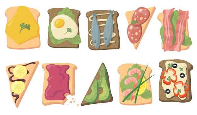 Różne smaczne tosty płaskie do projektowania stron internetowych. kreskówka chleb kanapkowy z jajkami, rybami, serem, plastrami awokado, bekonem na białym tle kolekcja ilustracji wektorowych. koncepcja zdrowej żywności i śniadanie