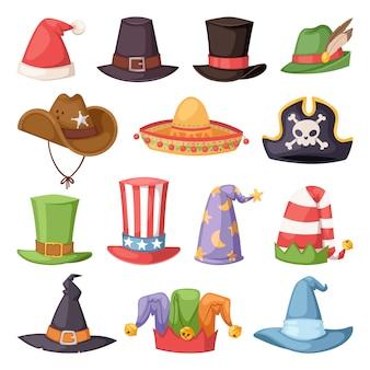 Różne śmieszne kapelusze na imprezę i wakacje wektor maskarady
