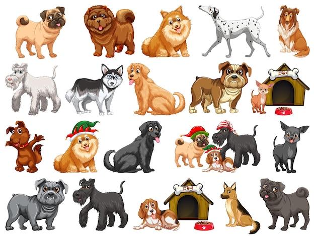 Różne śmieszne psy w stylu kreskówka na białym tle