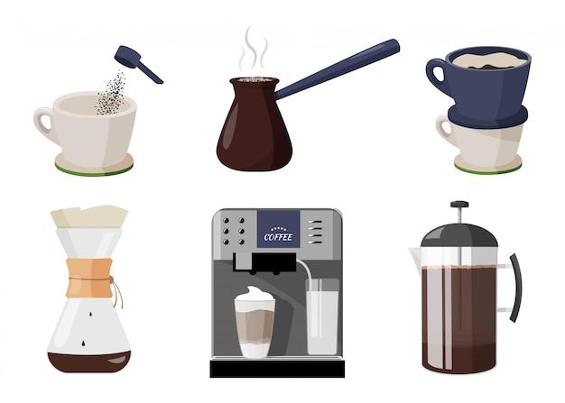 Różne sposoby przyrządzania kawy.
