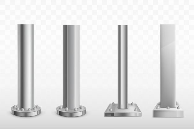Różne śruby stalowe realistyczne wektor zestaw